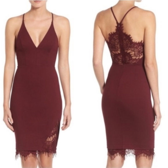 Astr The Label Burgundy Lace Midi Dress
